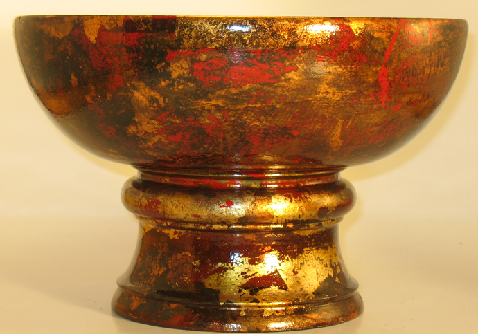 Turned Bowl With Copper Leaf Patina