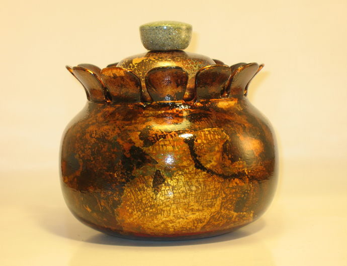 Lidded Vessel With Patina #155