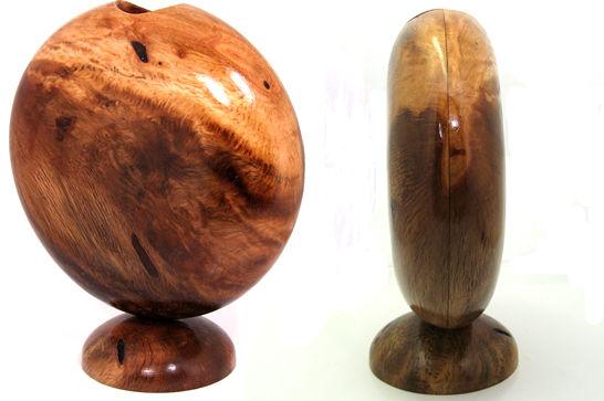 Oval Oak Flower Vase
