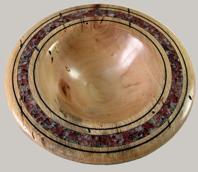 Sycamore Bowl with Red Calcite Inlay #250