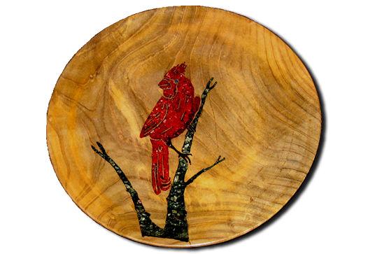 Cardinal Inlaid Platter #279