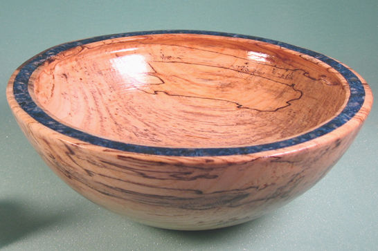 Spalted Hack Berry Blue Inlay Bowl #267