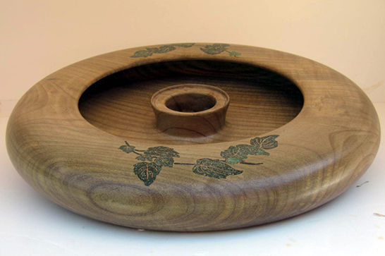 Flower Bowl with Ivy Leaves Inlay #290