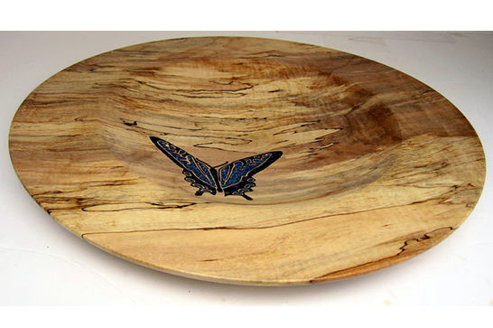 Calcite Inlaid Butterfly Platter #302