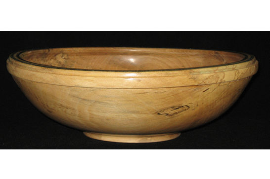 Large Salad Bowl with Inlaid Mineral Rim #321