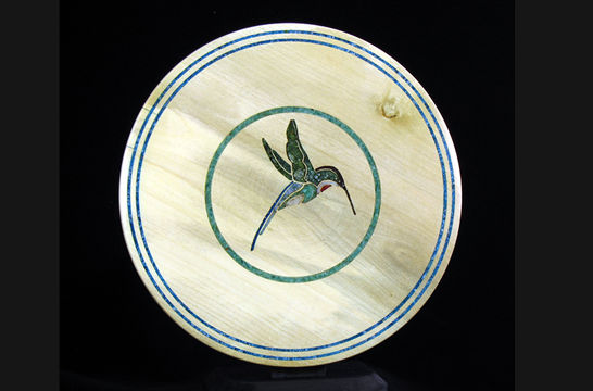 Mineral Inlaid Humming Bird Plate #343
