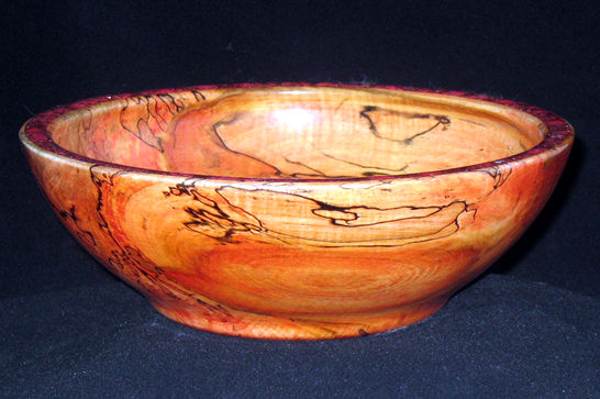 Red Bowl with Mineral Inlay #354