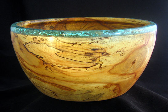 Mineral Turquoise Rim Salad Bowl #355