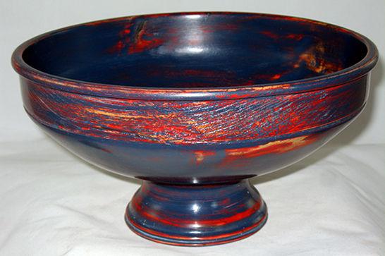 Blue Milk Paint Pedestal Bowl #374