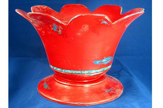 Red Tulip Pedestal Bowl #379