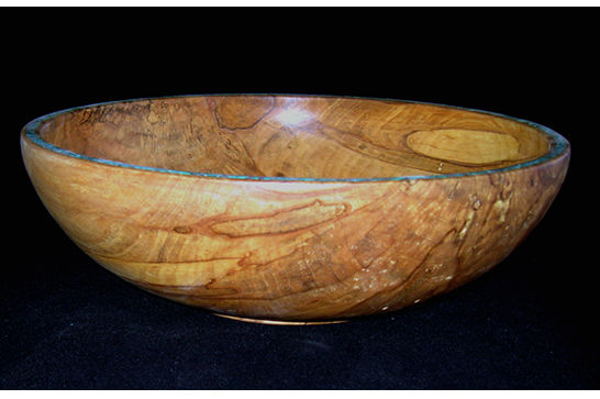 Figured Bowl with Turquoise Inlay #391
