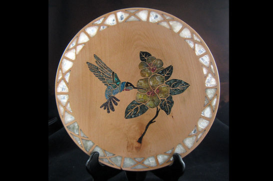 Mineral Inlay Hummingbird Platter #394