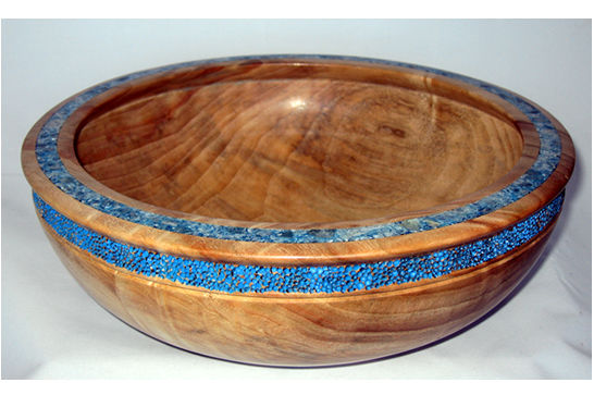 Blue Mineral Inlay Fruit Bowl #399