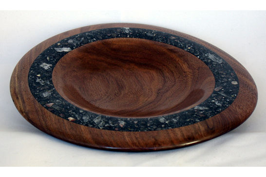 Striking Walnut Plate with Mineral Inlay #405