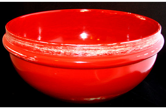 Worn Red Painted Bowl #406