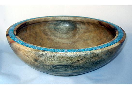 Pale Blue Inlaid Bowl #418