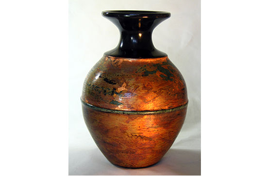Black Vase with Inlaid Bead #344