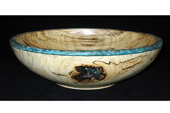 Epic Spalted Calcite Inlay Bowl # 464