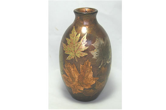 Patina Copper Leaf Vase # 466