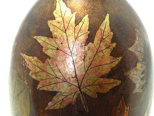 patina copper leaf vase   466