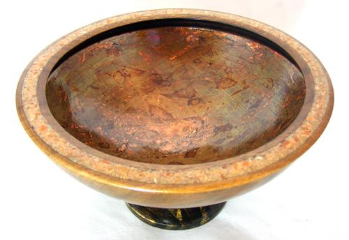 Calcite Rim, Copper Leaf Inside