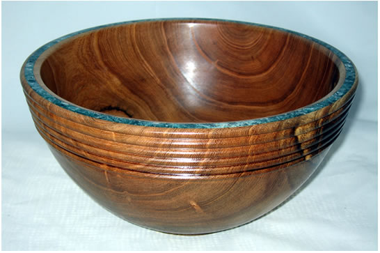 Figured Bowl with Calcite Inlay # 469