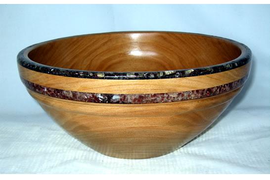 Dual Mineral Inlay Salad Bowl # 473