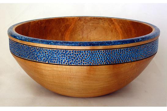 Blue Textured Calcite Bowl # 509