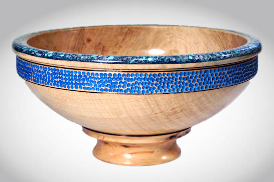Blue Decorated Pedestal Bowl #554