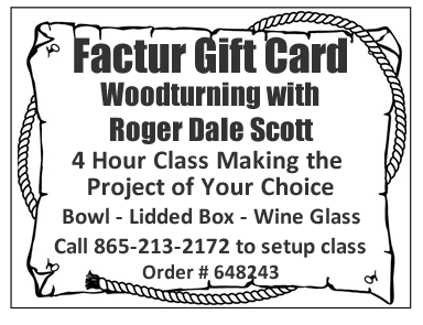 Gift Card for Woodturning with Roger Scott