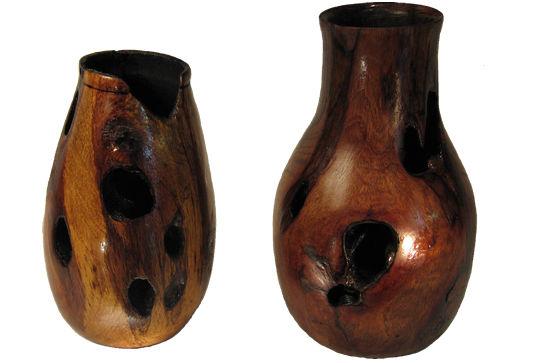 Pair of Spanish Oak Vases